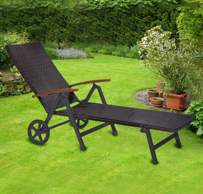 polyrattan sonnenliege mit rollen gartenliege geflechtliege rollliege cf990 ebay. Black Bedroom Furniture Sets. Home Design Ideas