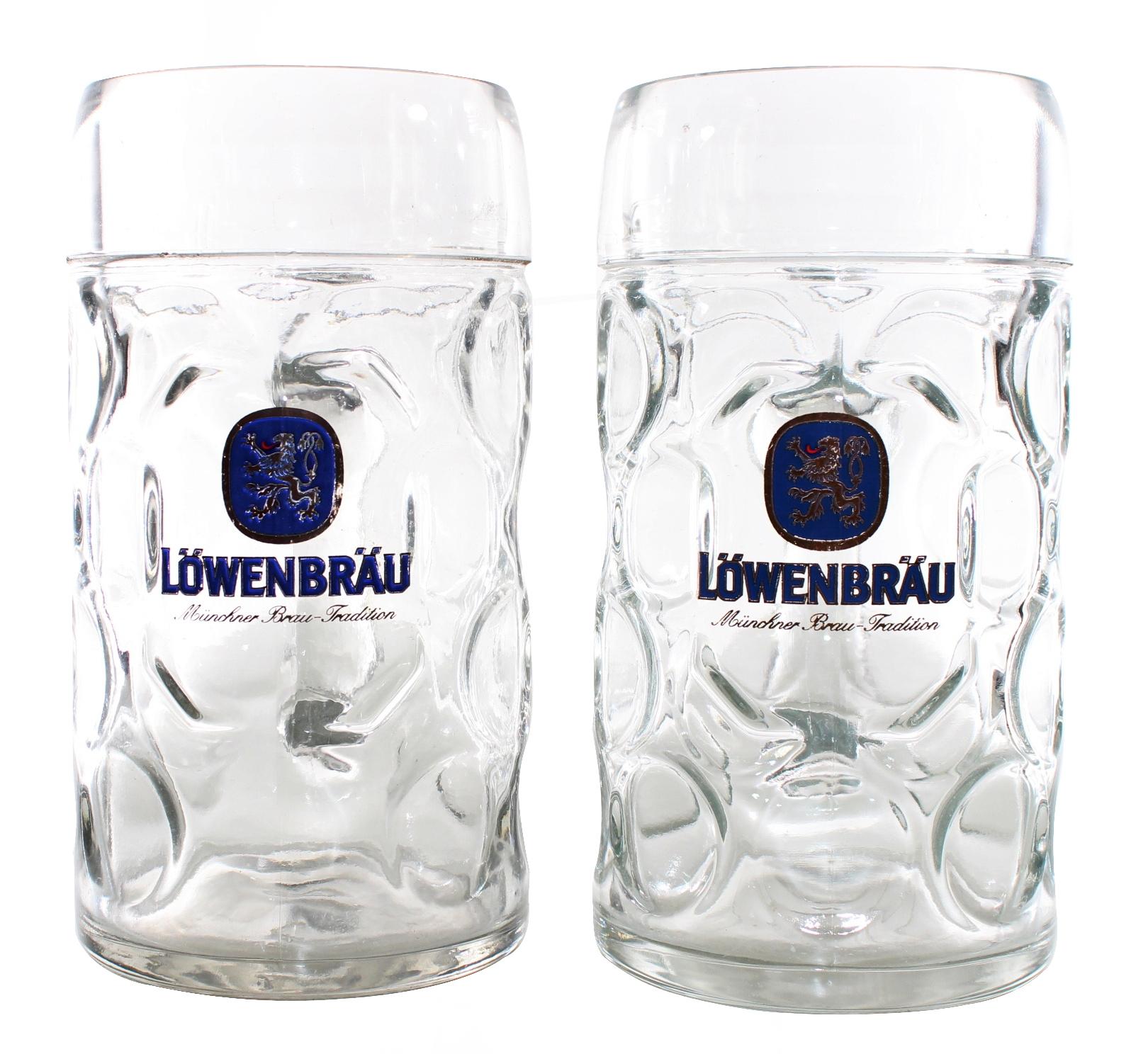 6 Löwenbräu-München Bierkrüge mit Henkel 0,5 Liter Biergläser = Oktoberfest =